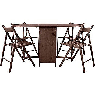 Butterfly Oval Dining Table and 4 Chocolate Chairs