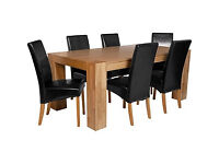 Heart of House Alston Oak Dining Table and 6 Black Chairs