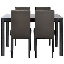New Elmdon Black Dining Table & 4 Black Chairs