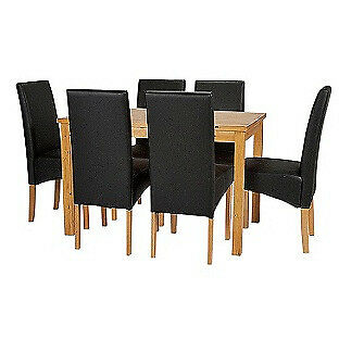 Lincoln Oak Effect 150cm Dining Table And 6 Black Chairs