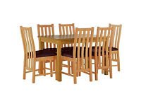 Stanford Oak Effect 150cm Dining Table & 6 Chocolate Chairs