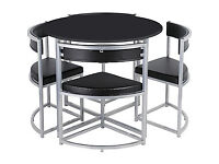 Hygena Milan Black Space Saver Table and 4 Black Chairs