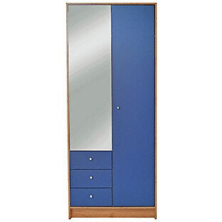New Malibu 2 Door 3 Drw Mirrored Wardrobe - Blue on Pine