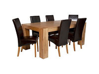 Heart of House Alston Dining Table & 6 Chairs-Oak Chocolate
