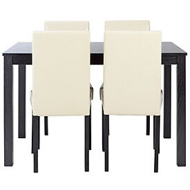 New Elmdon Black Dining Table & 4 Cream Chairs