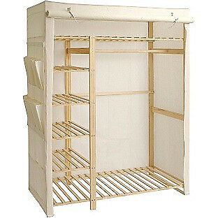 Polycotton and Pine Triple Wardrobe - Cream