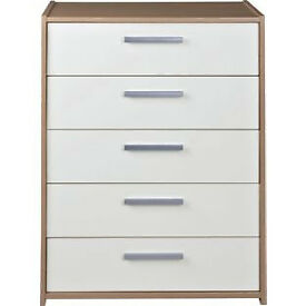 New Sywell 5 Drawer Chest - Oak Effect and White