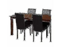 Ashdon Walnut Stain 150cm Dining & 4 Black Chairs.NEW ASSEMBLED.