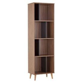 Hygena Berkeley Tall Bookcase - Black and Walnut