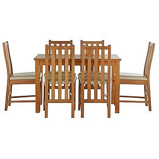 Stanford 150cm Dining Table and 6 Chairs - Oak Effect Cream