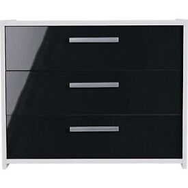 New Sywell 3 Drawer Chest - White and Black GlossNew Sywell 3 Drawer Chest - White and Black Gloss