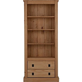 2 Drawer Tall Wide Bookcase - Solid Pine