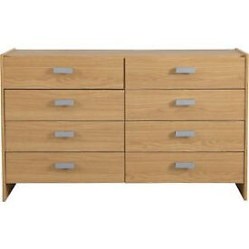 New Capella 4 + 4 Drawer Chest - Oak Effect