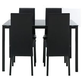 Hygena Lido Glass Dining Table & 4 Black Chairs