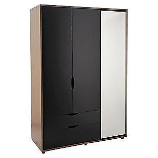 Hygena Berkeley Black & Walnut 3 Door 2 Drawer Mirror Wardrobe