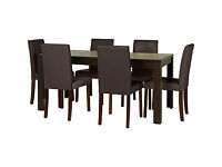 HOME Penley Ext Dining Table and 6 Chairs - Walnut Stain - Chocolate