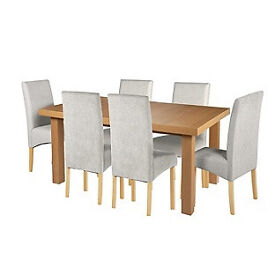 Cosgrove Ext Oak Stain Dining Table-6 Grey Chair