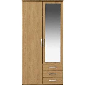 New Hallingford 2 Dr 3 Drw Mirror Wardrobe - Oak