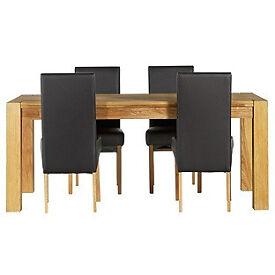 Heart of House Aspley Table & 4 Black Skirted Chairs.