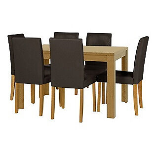 HOME Penley Extendable Dining Table and 6 Chairs -Oak Stain Chocolate