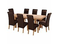 Wickham Oak Dining Table & 8 Chocolate Leather Effect Chairs