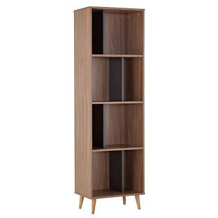 Hygena Berkeley Tall Bookcase - Black and Walnut