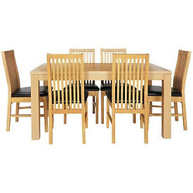 Pemberton Oak Effect Dining Table-6 Black Paris Chairs.