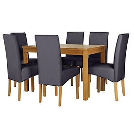 Lincoln Oak Effect 150cm Dining Table and 6 Charcoal Chairs