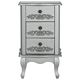 Sophia 3 Drawer Bedside Chest - Silver