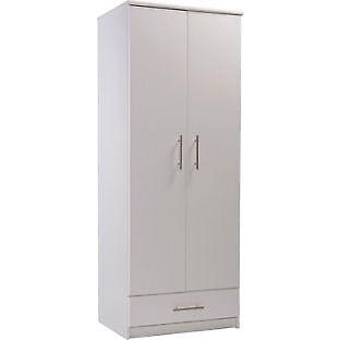 Normandy 2 Door 1 Drawer Wardrobe - White