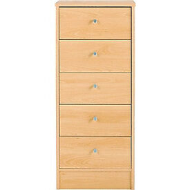 New Malibu 5 Drawer Tallboy Chest - Beech Effect