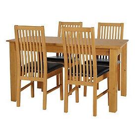 Ashdon Oak Stain 120cm Table & 4 Paris Chocolate Chairs