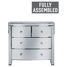 Fully assembled Heart of House Canzano 4 Drawer Mirrored Chest
