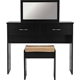 Cheval Dressing Table, Stool and Mirror - Black