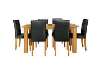 HOME Heyford Extendable Dining Table and 6 Black Chairs.