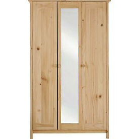 New Scandinavia 3 Door Mirrored Wardrobe - Pine