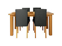 HOME Heyford Extendable Dining Table and 4 Black Chairs