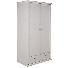 Canterbury 2 Door 2 Drawer Wardrobe - White.