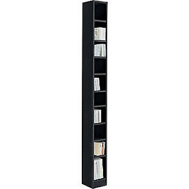 Maine Tall DVD and CD Media Storage Tower - Black Ash Effect