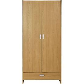 New Capella 2 Door 1 Drawer Wide Wardrobe - Oak Effect