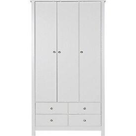 Osaka 3 Door 4 Drawer Wardrobe - White