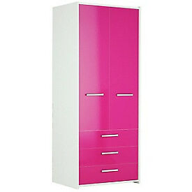 HOME New Sywell 2 Door 3 Drawer Wardrobe -Oak & White Gloss
