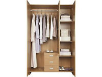 New Capella 3 Door 3 Drawer Wardrobe - Pine effect.