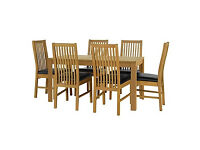 Penley Oak Stain Extendable Table and 6 Paris Black Chairs