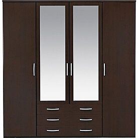 New Hallingford 4 Dr 3 Drw Mirrored Wardrobe- Wenge Effect