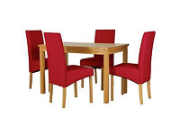 Lincoln Oak Effect 120cm Dining Table and 4 Red Chairs