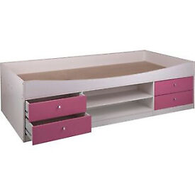 Malibu Cabin Bed Frame - Pink On White.
