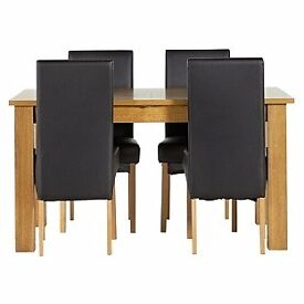 Penley Table & 4 Black Skirted Chairs