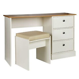Kensington Dressing Table and Stool - Oak Effect and White