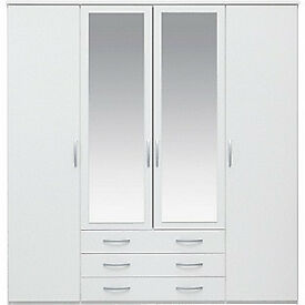 New Hallingford 4 Door 3 Drawer Mirrored Wardrobe - White